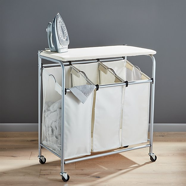 Triple laundry sorter with ironing board crate and barrel - Superhero laundry hamper ...