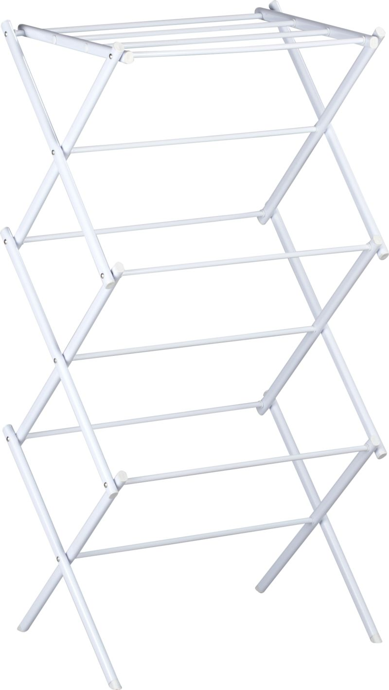 Laundry room essential in epoxy-coated steel. Rack expands to offer multiple drying rods, fold flat when not in use (see additional photos).<br /><br /><NEWTAG/><ul><li>Epoxy steel frame</li><li>30-pound capacity</li><li>Made in China</li></ul>