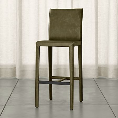 Wondrous Folio Olive Top Grain Leather Bar Stool Reviews Crate Pabps2019 Chair Design Images Pabps2019Com