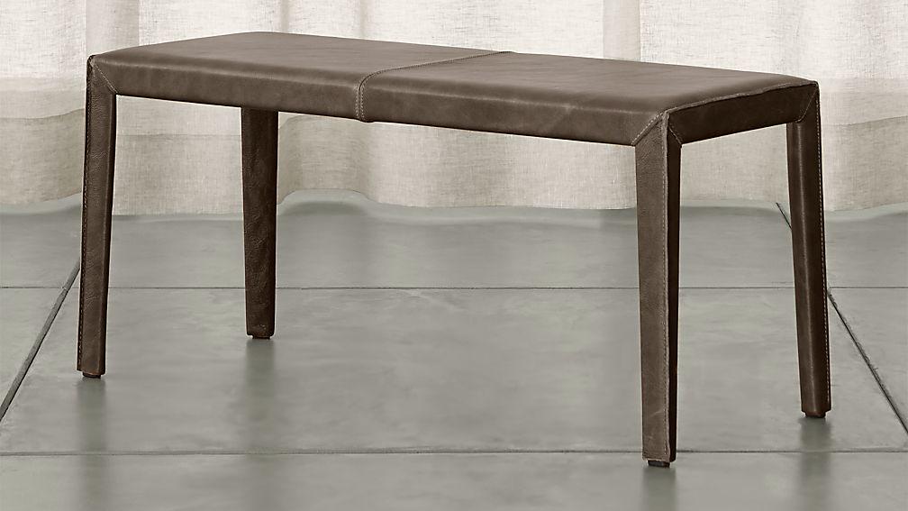"Folio Granite Top-Grain Leather 40"" Bench - Image 1 of 3"