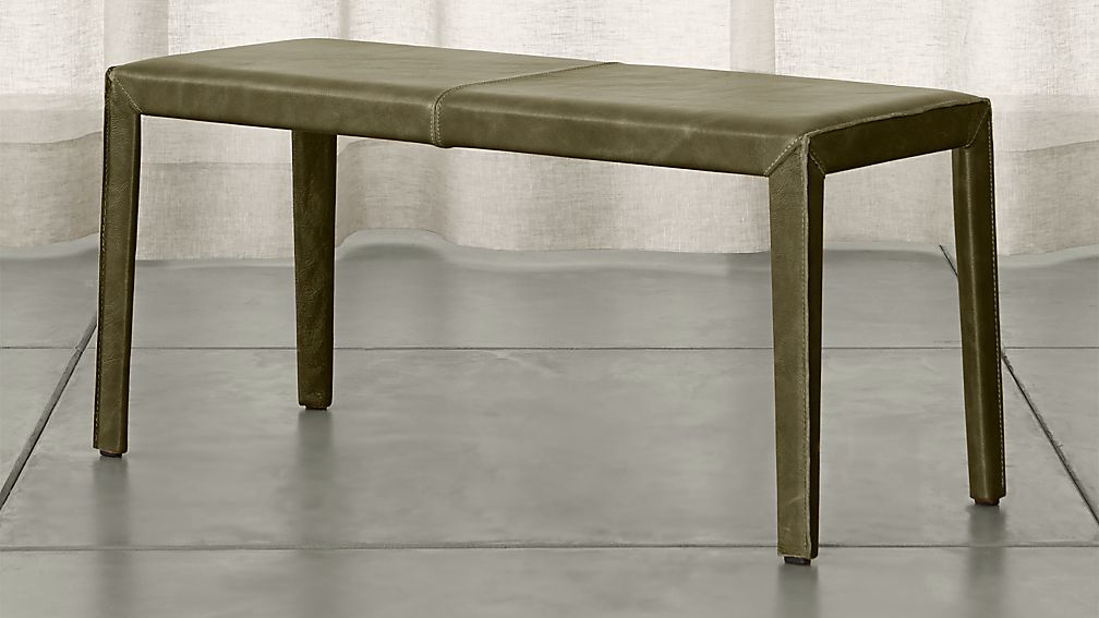 """Folio Olive Green Top-Grain Leather 40"""" Bench - Image 1 of 3"""