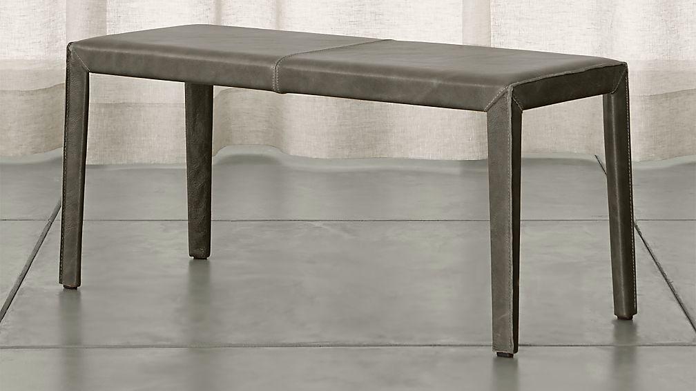 "Folio Stone Grey Top-Grain Leather 40"" Bench - Image 1 of 3"