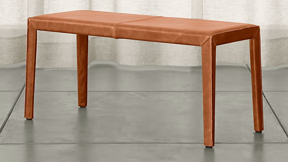 """Folio Whiskey Brown Top-Grain Leather 40"""" Bench - Image 1 of 3"""