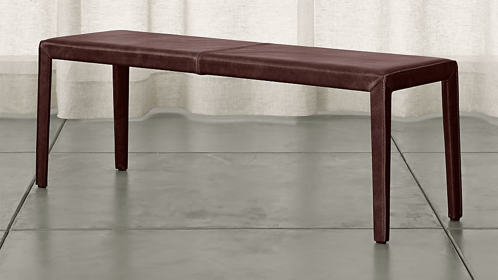 "Folio Merlot Top-Grain Leather 52"" Bench - Image 1 of 3"