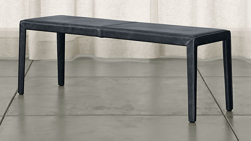 "Folio Oceana Blue Top-Grain Leather 52"" Bench - Image 1 of 3"