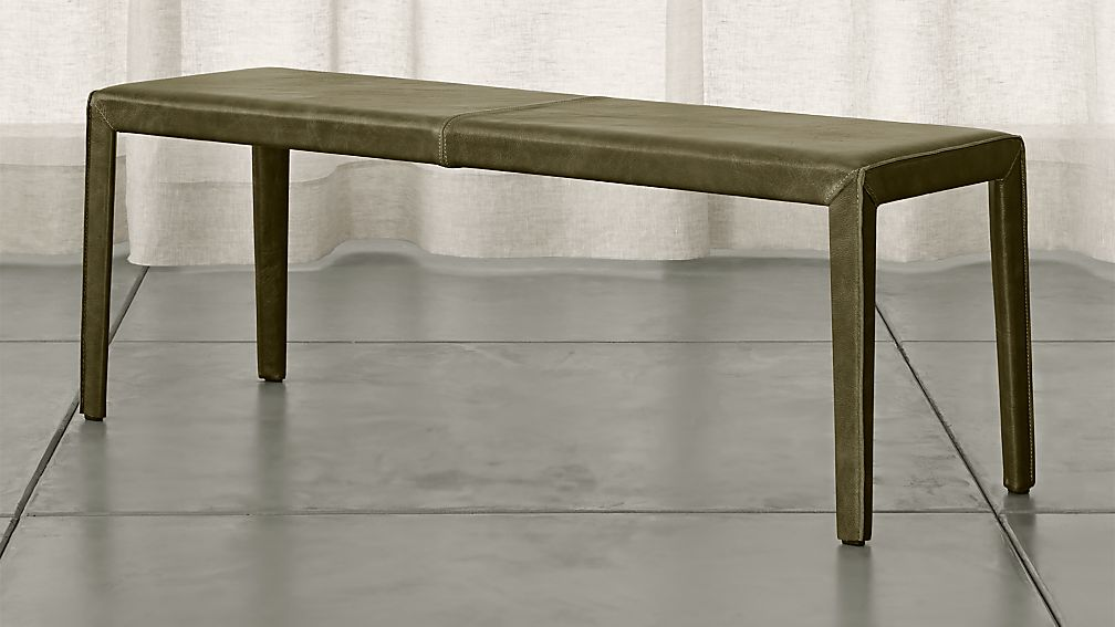 """Folio Olive Green Top-Grain Leather 52"""" Bench - Image 1 of 3"""