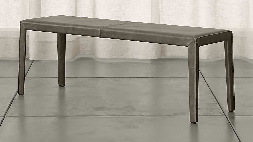 "Folio Stone Grey Top-Grain Leather 52"" Bench - Image 1 of 3"