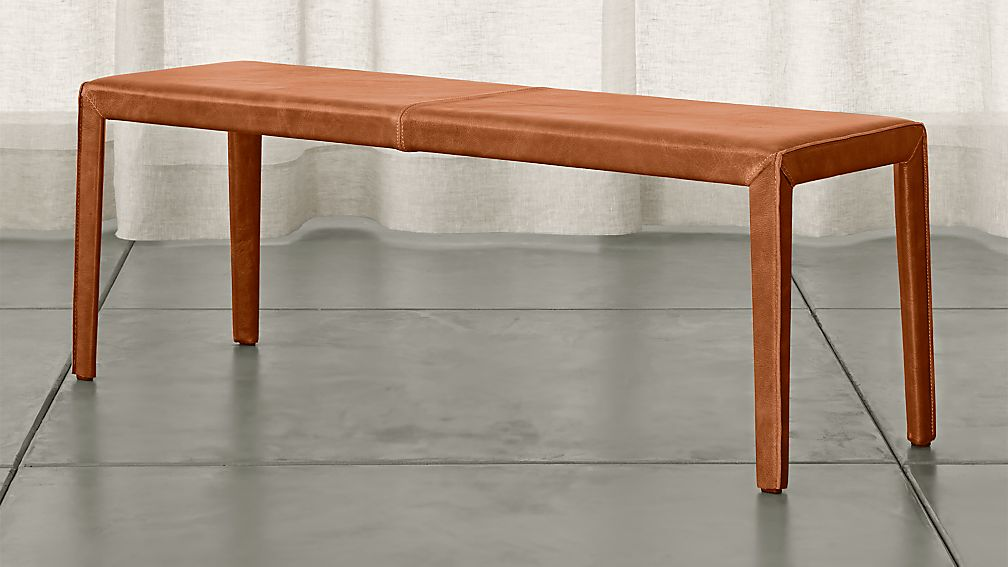"""Folio Whiskey Brown Top-Grain Leather 52"""" Bench - Image 1 of 3"""