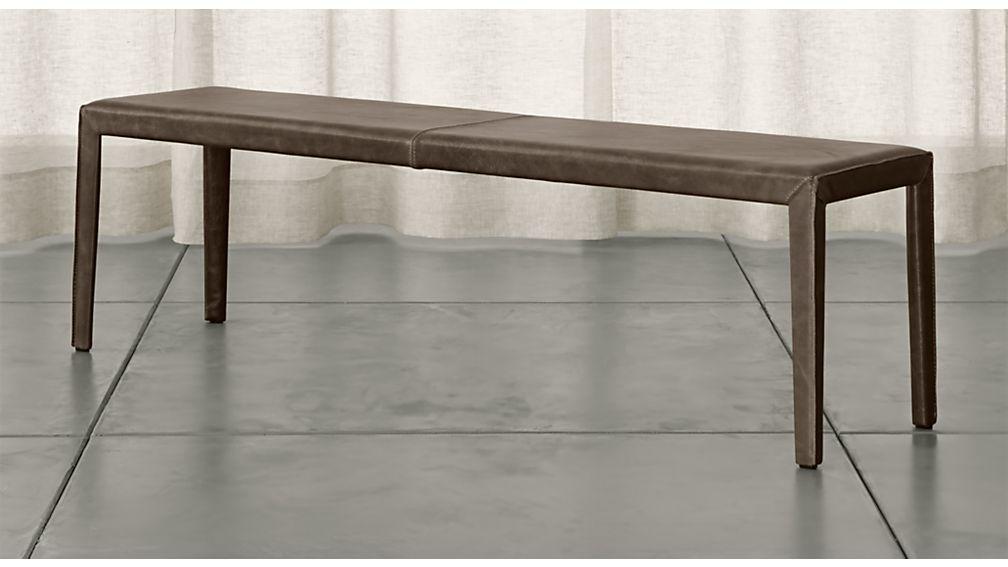 "Folio Granite Top-Grain Leather 64"" Bench - Image 1 of 3"