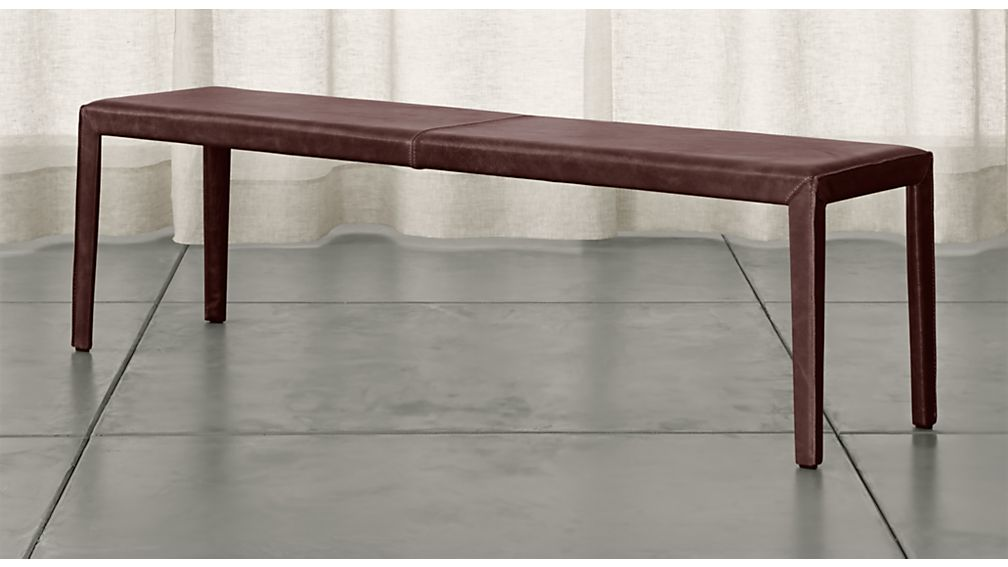 "Folio Merlot Top-Grain Leather 64"" Bench - Image 1 of 3"