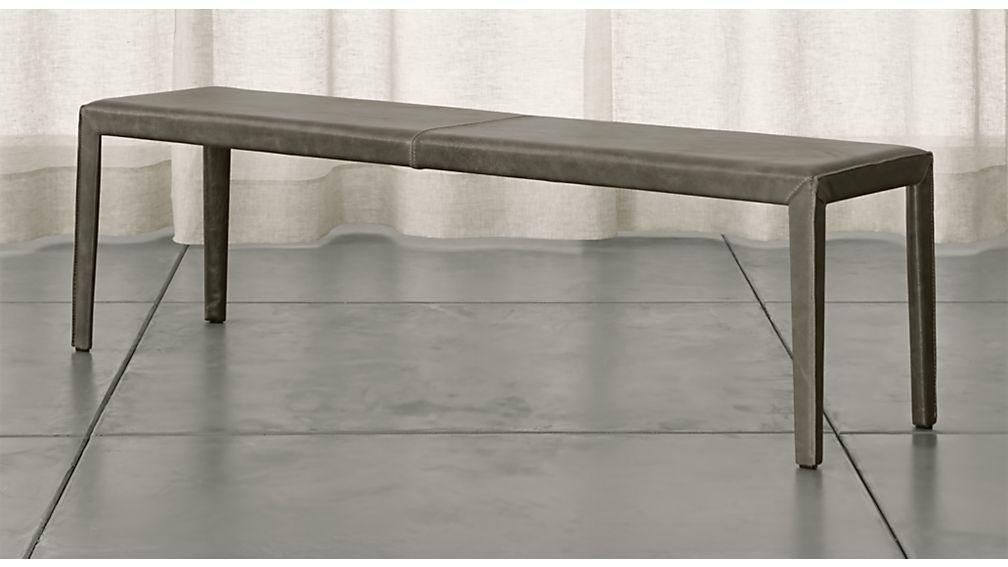 "Folio Stone Grey Top-Grain Leather 64"" Bench - Image 1 of 3"