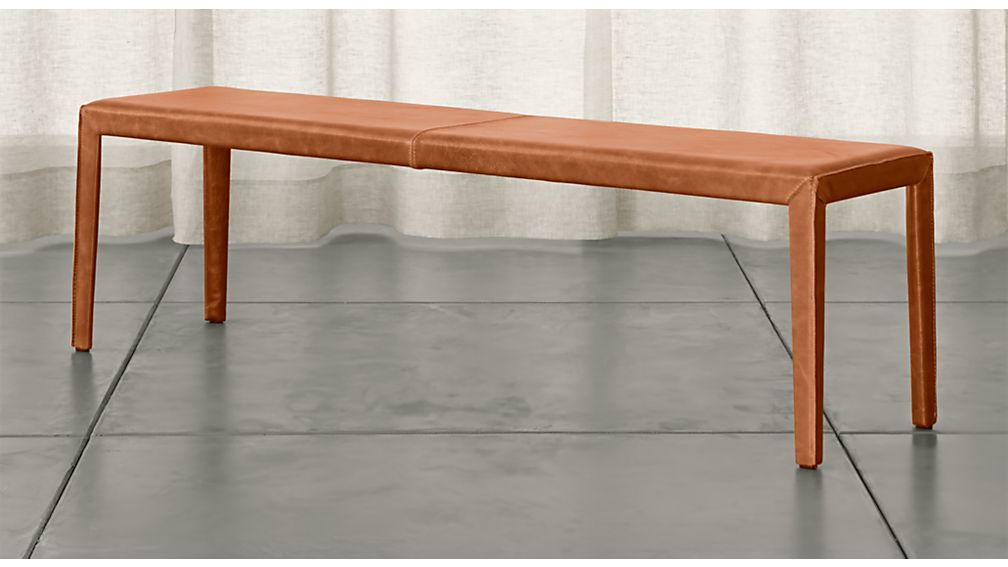"""Folio Whiskey Brown Top-Grain Leather 64"""" Bench - Image 1 of 3"""