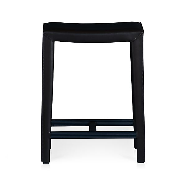 "Folio Ebony Leather 24"" Backless Counter Stool"