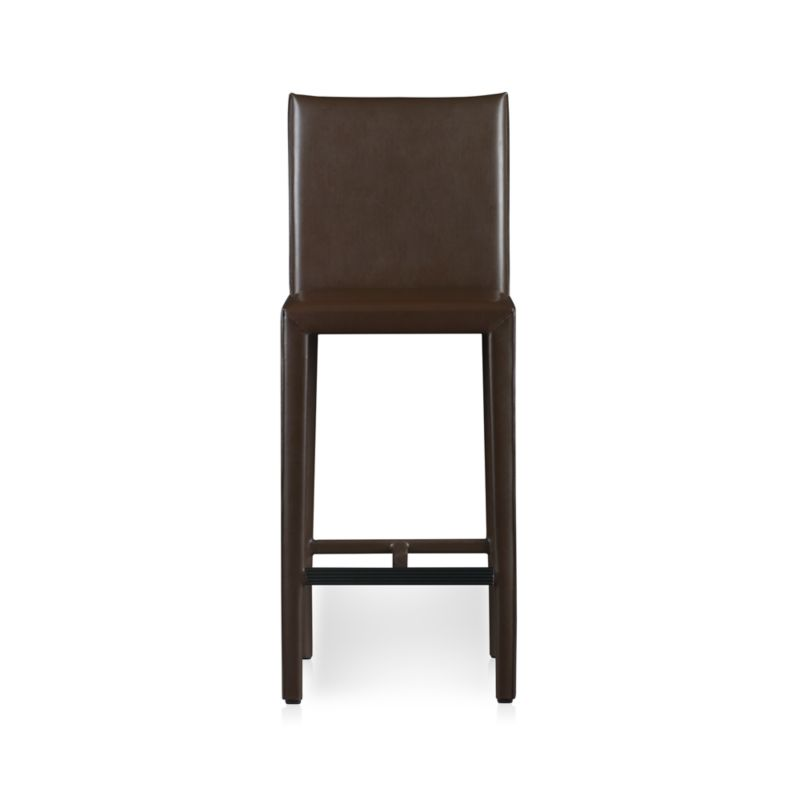 """The familiar lines of classic Italian design reinvented with comfort and value in mind. At a glance, you notice the generous, clean Parsons-style lines and fine quality leather in a warm oyster. Up close, it's the small details that make the big difference: solid welded steel frame, full wrapping in aniline-dyed leather with mitered corners, and seat and leg with full flange seaming. A thick, sculpted leg supports the comfortable, foam-cushioned seat. Chip-resistant paint coats the grooved steel footrest providing traction, durability and ease of care.<br /><br /><NEWTAG/><ul><li>Welded steel frame</li><li>Foam padding with hemp fiber wrap</li><li>Natural aniline-dyed European split and bonded leather</li><li>Grooved steel footrest provides traction</li><li>Mitered cut and stitched with flange seaming</li><li>30""""H seat sized for bars</li><li>Made in China</li></ul>"""