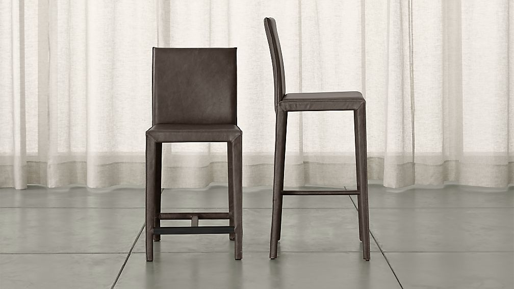 & Folio Top-Grain Leather Bar Stools | Crate and Barrel islam-shia.org
