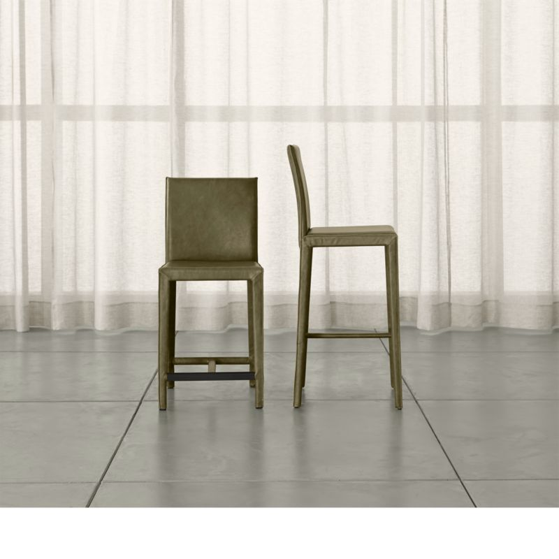 Folio Olive Top Grain Leather Bar Stool Crate And Barrel