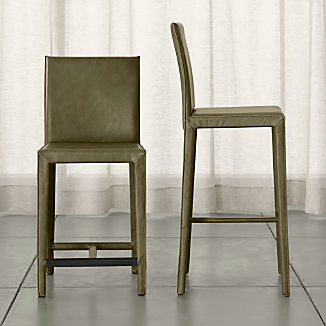 Folio Olive Top-Grain Leather Bar Stool