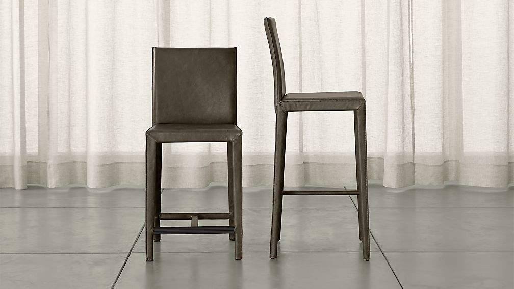 Folio Stone Top Grain Leather Bar Stools Crate And Barrel