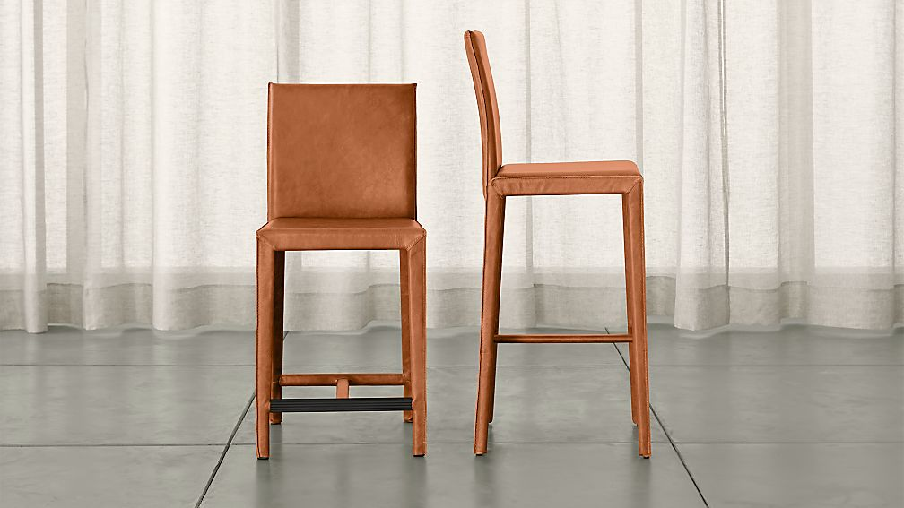 Folio Whiskey Top Grain Leather Bar Stools Crate And Barrel