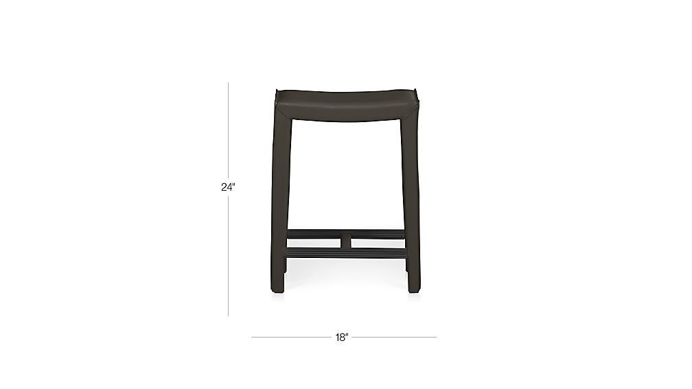Folio Top Grain Leather Backless Counter Stool Crate And