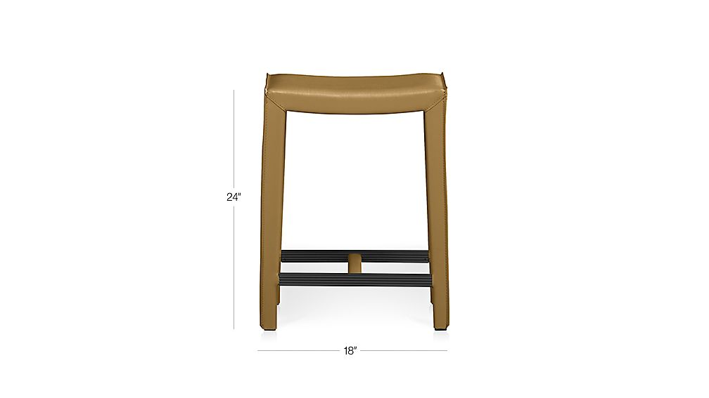 Folio Top Grain Leather Backless Bar Stools Crate And Barrel