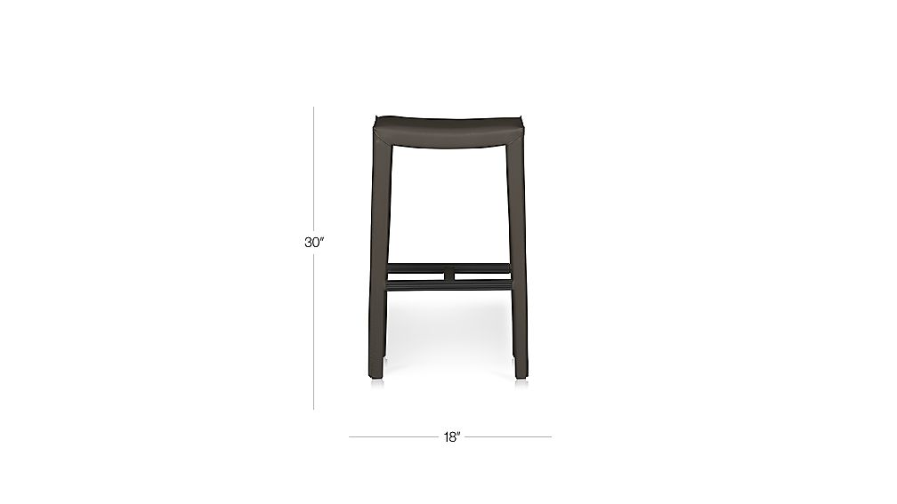 TAP TO ZOOM Image With Dimension For Folio Top Grain Leather Backless Bar  Stool