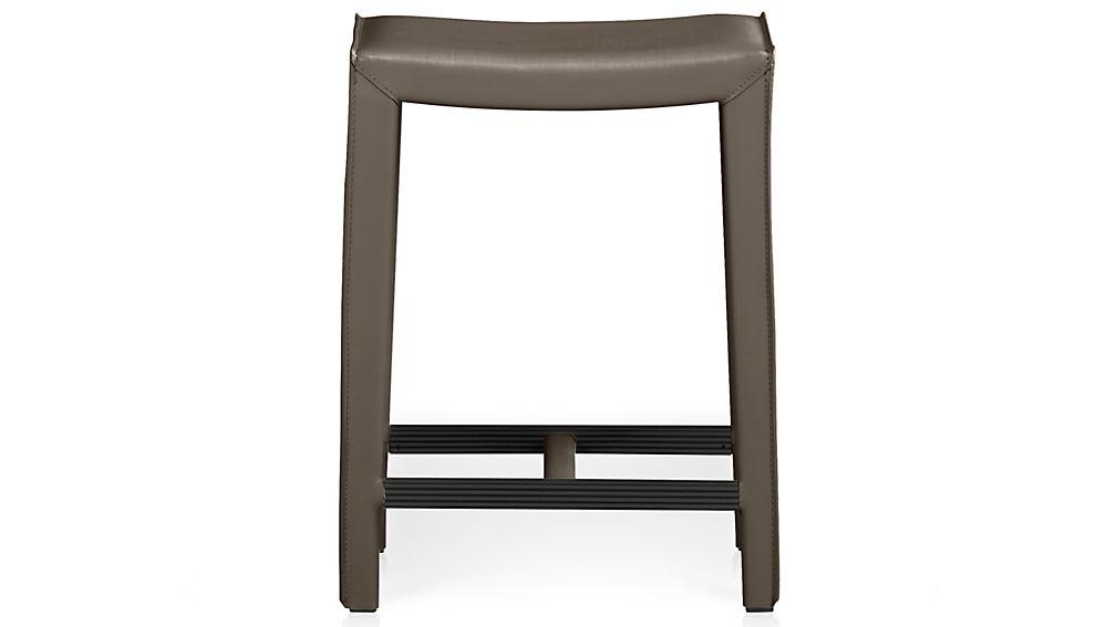 Folio Top-Grain Leather Backless Bar Stool