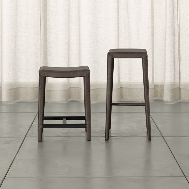 Folio Top Grain Leather Backless Bar Stools