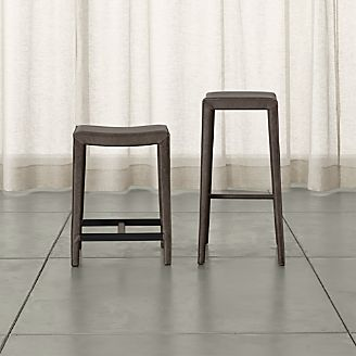 folio topgrain leather backless bar stools