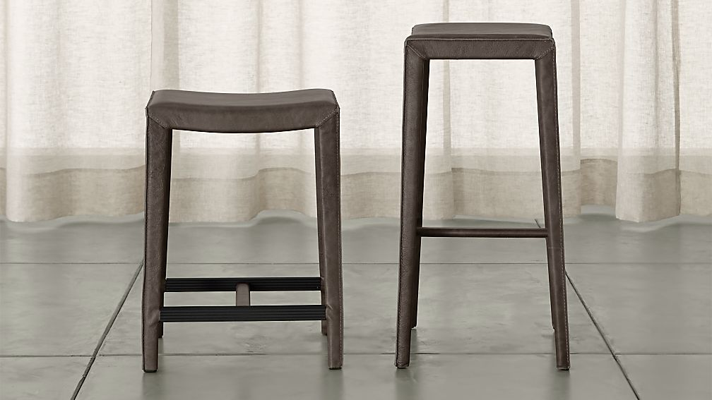 Folio Merlot Top-Grain Leather Backless Bar Stools - Image 1 of 3