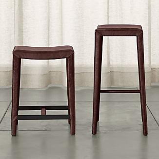 Folio Merlot Top-Grain Leather Backless Bar Stools