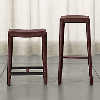 Folio Merlot Top-Grain Leather Backless Bar Stools