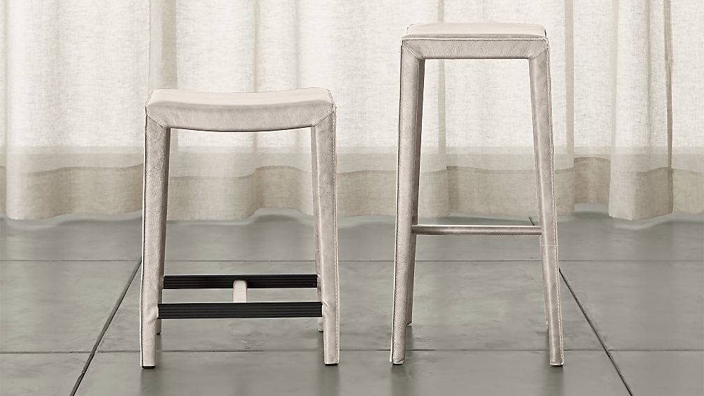 Folio Sand Top-Grain Leather Backless Bar Stools - Image 1 of 3