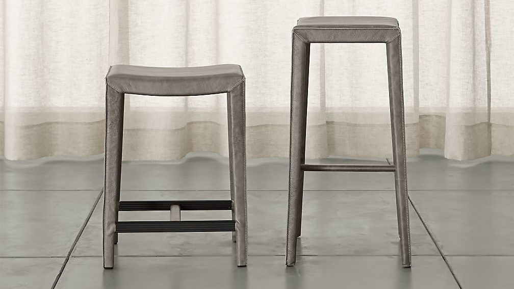 Folio Stone Top-Grain Leather Backless Bar Stools - Image 1 of 3