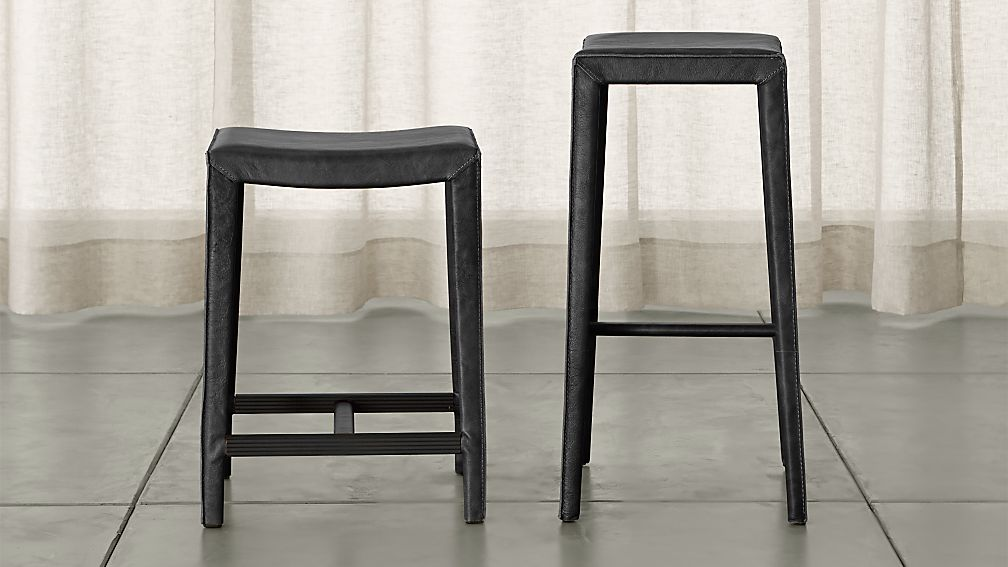 Folio Viola Top-Grain Leather Backless Bar Stools - Image 1 of 3
