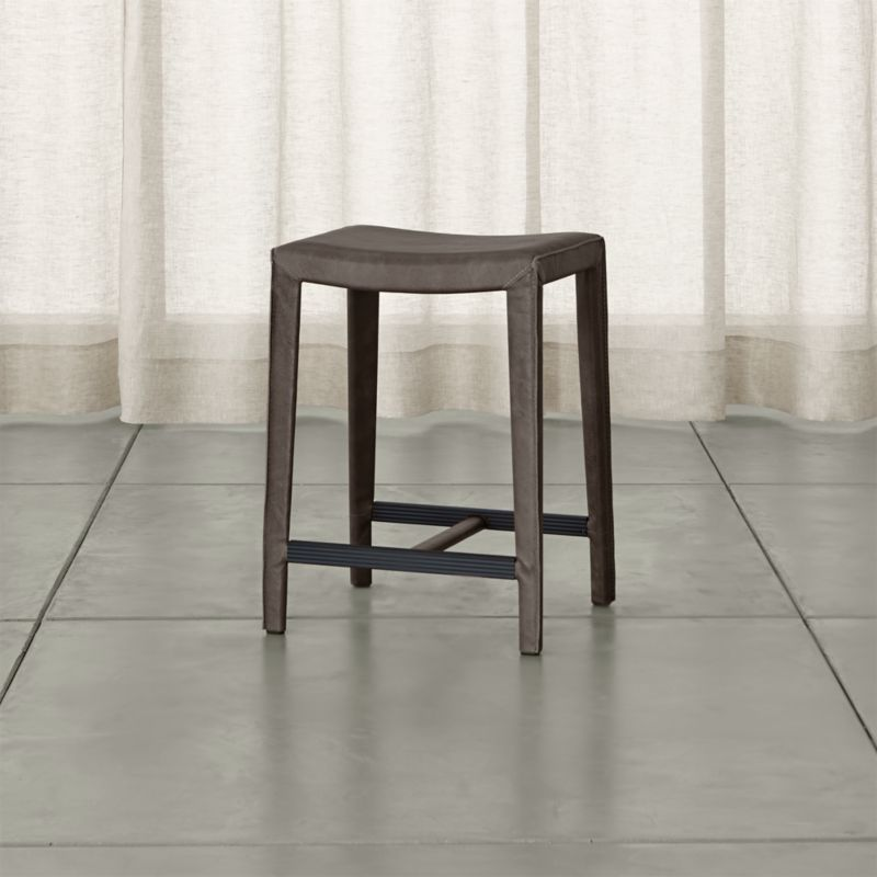Folio Top Grain Leather Backless Counter Stool Reviews