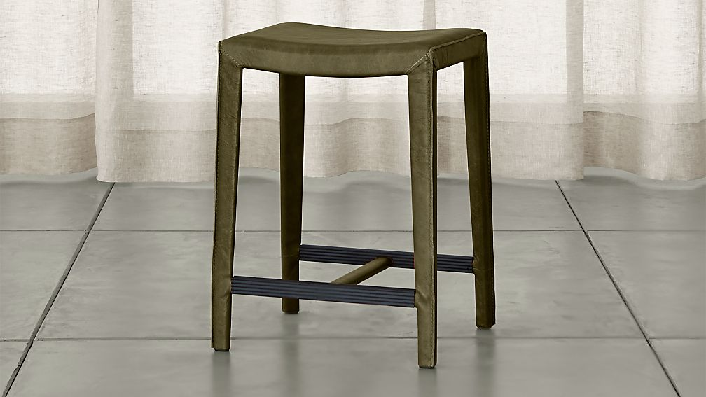 Folio Olive Green Top Grain Leather Backless Counter Stool