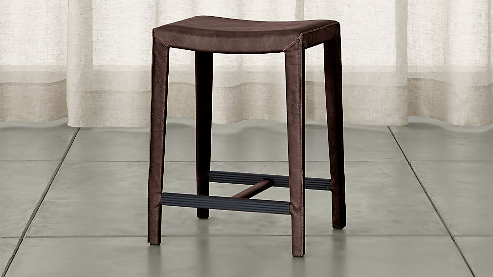 Folio Saddle Top Grain Leather Backless Counter Stool