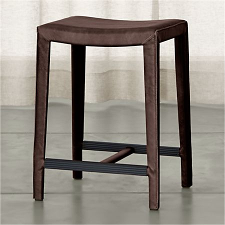 Superb Folio Saddle Top Grain Leather Backless Counter Stool Evergreenethics Interior Chair Design Evergreenethicsorg