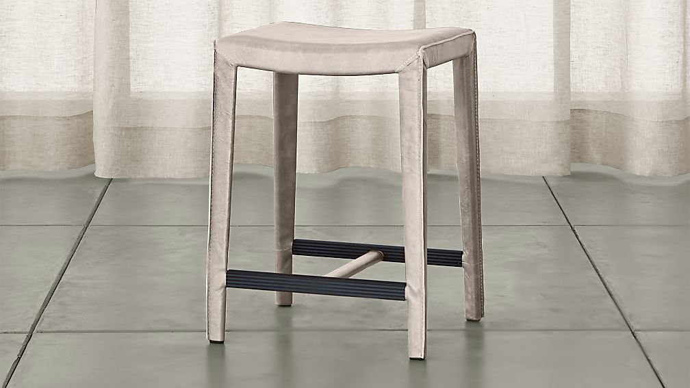 Folio Sand Top Grain Leather Backless Counter Stool