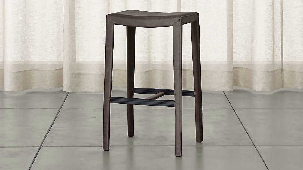 folio topgrain leather backless bar stool