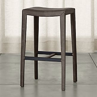 Folio Top-Grain Leather Backless Bar Stool