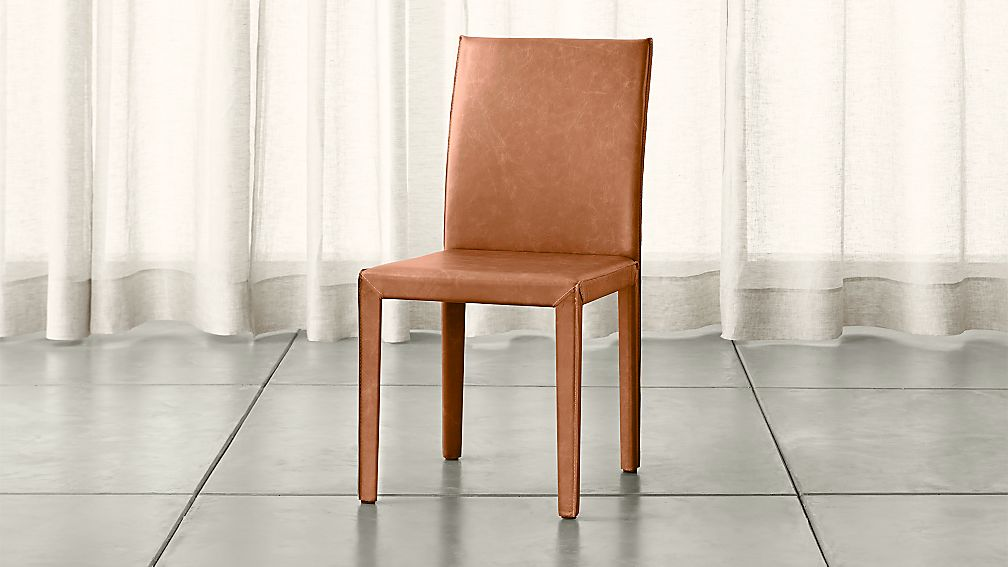 Folio Whiskey Brown Top Grain Leather Dining Chair Crate
