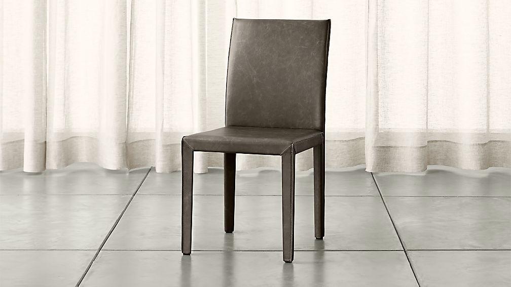 Folio Granite Grey Top-Grain Leather Dining Chair - Image 1 of 9