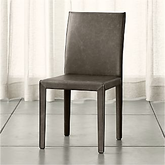 Folio Granite Grey Top-Grain Leather Dining Chair
