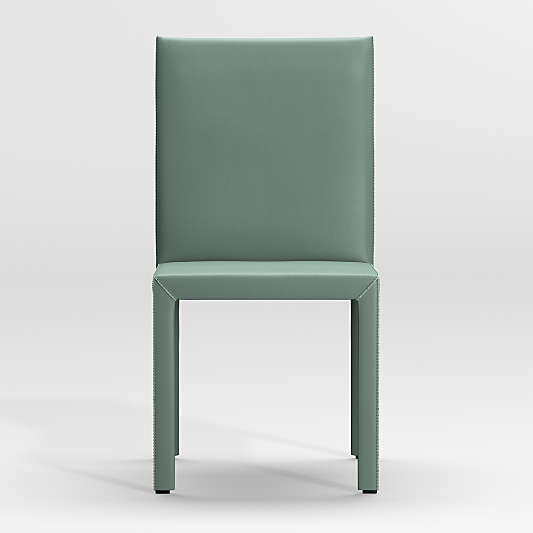 Folio Green Top-Grain Leather Dining Chair
