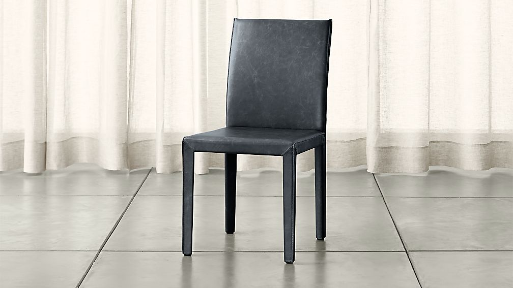 Folio Oceana Blue Top Grain Leather Dining Chair Reviews Crate And Barrel