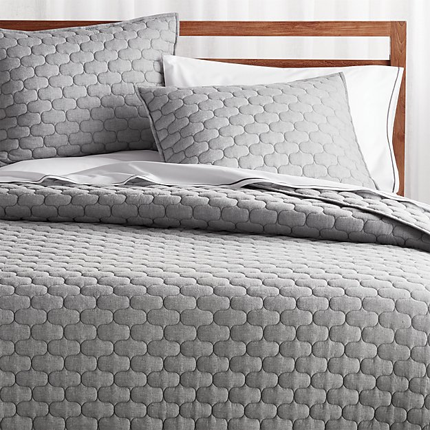 Fontaine Grey Cotton Quilts and Pillow Shams - Image 1 of 5