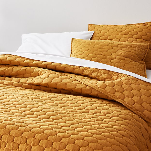 Fontaine Mustard Yellow Cotton Quilts and Pillow Shams - Image 1 of 5