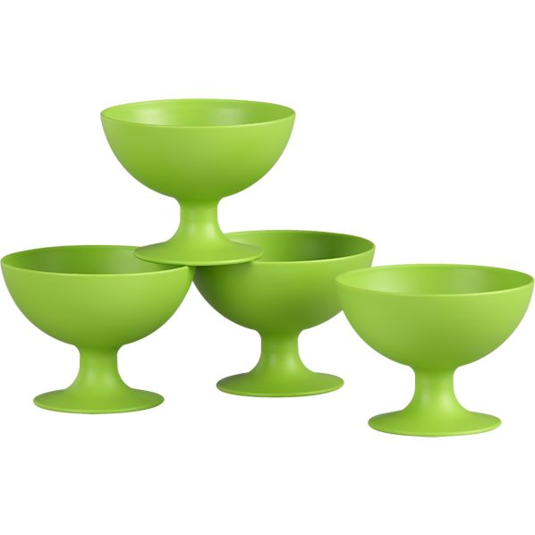 Set of 4 Footed Green Bowls